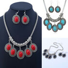 Turquoise Statement Pendant Bib Necklace Earrings Women Fashion Jewelry Set