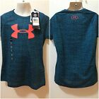 Under Armour Heatgear Girls Turquoise/Black Sz S SS Loose Coupe Shirt $25 NWT FS