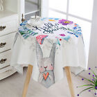 Tablecloth Cotton Linen Catoon Rabbit Square Rectangular Round End Table Cover