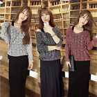 Women Lady Spring Autumn Style Loose V neck Long Sleeve Hollow Knitted Sweater