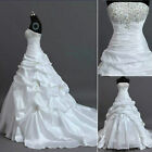 New White/ivory Wedding Bridal Gown Dresses Stock Size 6 8 10 12 14 16 18