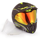 Dual Sport Motocross Helmet Hi Viz With Extra Clear Anti fog Visor DOT Approval