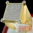 Mens 10K Yellow Gold On Real Siver Round Cut Simu Diamond Pinky Ring Square Band