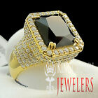 Mens Pure Silver Black Onyx Emerald Cut 14K Gold Finish Signet Pinky Ring Band
