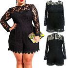 Внешний вид - 6XL Plus Size High O Neck Long Sleeve Lace Romper Girl Women Short Jumpsuits