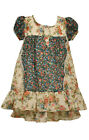 Bonnie Baby Girls High Low Flounce Navy Beige Dress Floral  Size 12 18 24 Mos