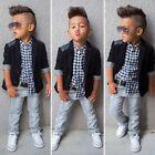 3Pcs Toddler Kids Baby Boys Gentleman Set Coat+Shirt+Denim Pants Casual Outfits