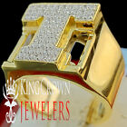 Mens Big Bold 10K Yellow Gold On Real Silver Initial Letter T Simu Diamond Ring