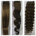 "USPS 15""-36"" Real Soft Weft Human Hair Extensions Straight Wavy #8 Light Brown"