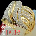 Real Yellow Gold Sterling Silver Lab Diamond Bridal Wedding Engagement Ring Band