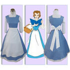 US SHIP! Beauty and the Beast Belle Blue Maid Dress Cosplay Costume Christmas