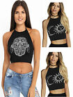 Womens Ladies Mandella Sun & Moon Star Print Halter Neck Tie Bralet Crop Top