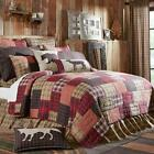 4PC WYATT RUSTIC PRIMITIVE CABIN RED QUILT PILLOW CASES BEAR BED SET VHC BRANDS
