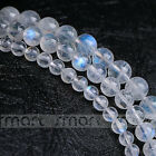 """2A Natural Blue Moon Stone Gemstone Round Loose Beads 15.5"""" Strand 4 5 6mm"""