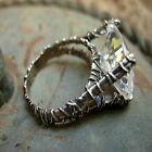 Zirconia Rustic Wire Wrapped Silver Ring.