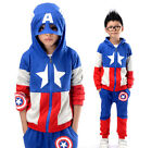 2PCS Boys Outfits Cosplay Fashion Captain America Hoodies Pants Sets 4-14 Years