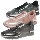 WOMENS SHOES LADIES TRAINERS PUMPS FLATS STAR DETAIL GLITTER HEEL SNEAKERS SIZE