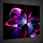 PINK BLUE BUTTERFLY ABSTRACT DESIGN BOX CANVAS PRINT WALL ART PICTURE