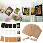 """10 Set DIY Wall Picture Paper Photo Hanging 6"""" Frame Album Rope Clip Decoration"""