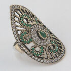 Turkish Hurrem Sultan Jewelry 925 Sterling Silver Emerald Lady's Dome Ring