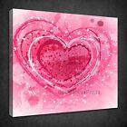 PINK ABSTRACT HEARTS MODERN DESIGN BOX CANVAS PRINT WALL ART PICTURE