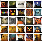 Halloween Pumpkin Cotton Linen Throw Pillow Case Cushion Cover Home Sofa Decor image