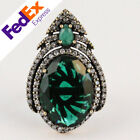 Turkish Hurrem Sultan Jewelry 925 Sterling Silver Emerald Lady's Luxury Ring