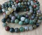 8mm Indian Agate Gemstone Beads Full Strand Green Earth Colours S139
