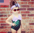 US New Baby Girls Kid Swimsuit Little Mermaid Bikini Bathing Suit Costume Summer