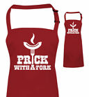 Prick With A Fork funny BBQ Apron, Christmas Gift for Dad Him Fathers Day