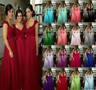 Long Chiffon Cap Sleeve Formal Prom Dresses Party Bridesmaid Evening Gowns 6-18