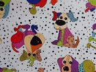 Loralie Happy Dogs Fabric Tossed White Quilting 100% Cotton BTHY or BTY