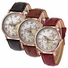 Ladies Vintage Style Leather World Map Wrist Watch Globe Travel Gift Brand New