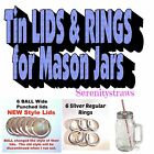 Mason Jar Lids, TIN With Straw Holes & Without, also Rings/Bands