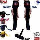 DAM WEIGHTLIFTING POWER BAR WRIST WRAPS PADDED VELCRO CLOSER BODY BUILDING GYM