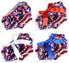 4th July Newborn America Flag Stripes Star Baby Bloomer Pantie with Bow 6m-3Year