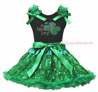 My 1ST St Patrick Day Clover Black Top Green Sequins Bling Girls Skirt Set 1-8Y