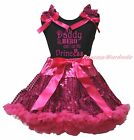 Daddy Is My Hero I am His Princess Black Top Hot Pink Bling Sequins Skirt 1-8Y