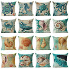 "18""Retro Sea Animal Cotton Linen Pillow Case Sofa Cushion Cover Throw Home Decor image"