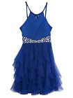 New Rare Editions Girls Dress Blue Jewel Waist Halter Party Formal Sizes 10 14