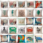 Ocean Life Pillow Cover Cotton Linen Pillow Case Home Decor Cushion Cover 18x18