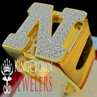 Mens Big Bold 10K Yellow Gold On Real Silver Initial Letter N Simu Diamond Ring