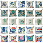 The deep Style Sea Animals Cotton Linen Throw Pillow Case Cushion Cover Home Decor