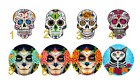 """Mexican Day of the Dead Sugar Skulls Roses Icing Wafer 1.5""""/38mm Cupcake Toppers"""