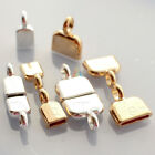 Silver Or Real Gold Plated End Caps Flat Leather Cord Findings Jewellery Making