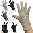 Handschuhe Touch Finger 2er Set Strass Glitzer Handstulpe Strick Winter