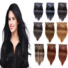 "Full Head 26"" Clip In Remy Real Human Hair Extensions Straight 140g More Colors"