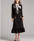 Occident fashion bowknot agaric edge shirt+embroidery bead skirt hot suit SMLXL