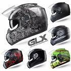 GLX Motorcycle Full Face Helmet Street Bike Dual Visor DOT Matte Black Red Green