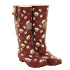 HAWKINS LADIES PUG WELLIES ~ BURGUNDY ~ WELLINGTON BOOTS ~ DOGS ~ SIZE 4 5 6 7 8